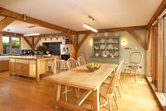 Open plan kitchen and dining space in 2015 Open Plan Kitchen, Kitchen Dining, Bungalow Conversion, The Woodhouse, Garden Design, House Design, Build Your Own, Kitchens, Space