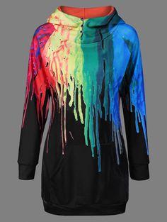 Print Hoodie Fashion | $8.83 | Kangaroo Pocket Oil Paint Over Print Hoodie | Sammydress.com