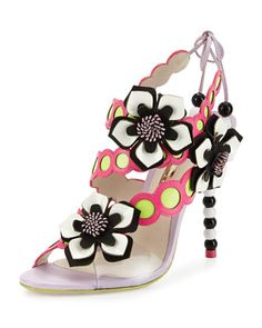 Amazona Leather Flower Sandal, Orchid/Magenta by Sophia Webster at Neiman Marcus.