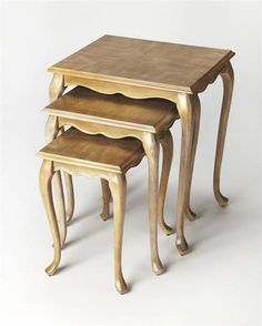 Masterpiece Thatcher Gray Driftwood Rubberwood MDF Nest Of Tables
