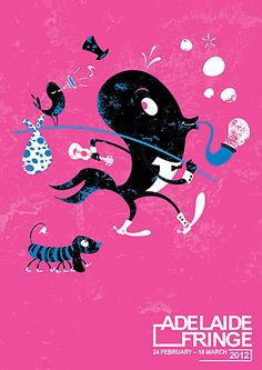 Adelaide Fringe Festival poster by Phillip Small. The colours & textural feel of this illustration is great. Edinburgh Fringe Festival, Festival Posters, Cool Posters, Web Design Inspiration, Animation, Graphic Design, Colours, Performing Arts, Texture