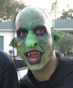 Halloween face paint.  Goblin.