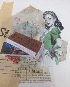 Ellen Platt: textiles, mixed media, vintage paper, florals, stitch, appliqué, buttons, lace. ALevel Textiles