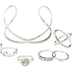 Charlotte Russe Crystal Cuff Bracelet & Stacking Rings Set ($7.99) ❤ liked on Polyvore featuring jewelry, bracelets, silver, charlotte russe jewelry, geometric jewelry, cuff bangle bracelet, set jewelry and crystal jewelry