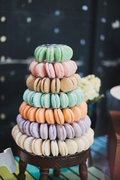 Colorful French macaron tower #wedding #weddingdessert #frenchmacarons #desserttable #rainbow