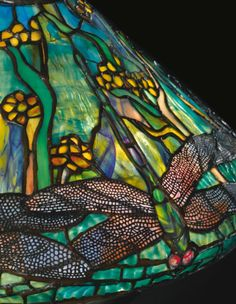 Dragonfly and Waterflowers table lamp (shade detail) by Tiffany Studios, NY, ca.1898/99. Leaded glass