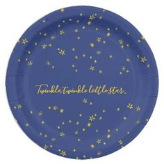 Twinkle Little Star Baby Shower Paper Plates - baby birthday sweet gift idea special customize personalize