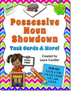 "Possessive Noun Showdown: Task Cards & More from Laura Candler's Teaching Resources - Read what one buyer had to say about it: ""This is one of the most comprehensive units on forming possessives that I have seen. It takes in every nuance and give the kiddies a superb grasp of the concept. Thank you for all your hard work."" $"