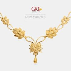 GRT Jewellers is one of the India's foremost jewellery store having an exquisite collection of jewellery in Gold, Diamond, Platinum and Silver created by the finest artisans of India. Also available exclusively in GRT Jewellers Online Jewellery Shopping. Gold Jewellery Design, Gold Jewelry, Gold Necklace, Short Necklace, Bridal Necklace, Wedding Jewelry, Jewelry Illustration, Jewelry Shop, Jewelry Accessories