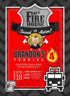 Sound the Alarm- Custom Firehouse Themed Birthday Invitation |birthday|party|invitation|firehouse|fireman|fire station|firetruck|