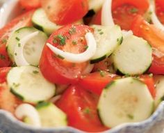 Summer Tomato, Onion & Cucumber Salad  http://www.diabeticconnect.com/diabetic-recipes/general/5592-summer-tomato-onion-amp-cucumber-salad
