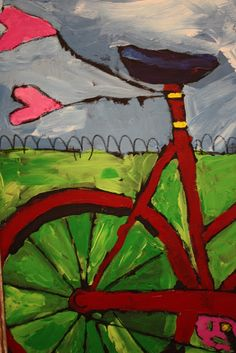So here& a sneek peek at the project finished by one of my two K classes at the Trinity School for their art auction.oh man is it cute! Bicycle Print, Bicycle Design, Bicycle Painting, Cycling Art, Cycling Quotes, Cycling Jerseys, Bike Art, Art For Art Sake, Art Plastique