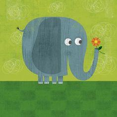 Friendly Elephant Canvas Wall Art