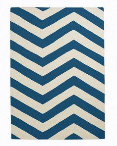 Chevron Stripe Flat-Weave Wool Rug - Garnet Hill
