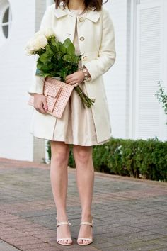 Adorable Valentines Day outfit. Love the pale pink and white. So sweet