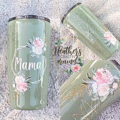 Tumbler Designs, Make Your Own, How To Make, Tumbler Cups, Mason Jars, Glass Vase, Resin, Cricut, Floral