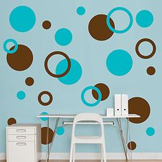 Brown & Turquoise Polka Dots.  Would love to put on one wall in the guest bedroom.