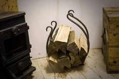 A real wrought iron log basket/rack in Home, Furniture & DIY, Fireplaces & Accessories, Log Baskets & Holders   eBay