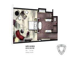 King Guestroom key plan for Four Seasons Hotel Guangzhou, designed by HBA/Hirsch Bedner Associates. Design Hotel, Hba Design, Lofts, Loft Style Bedroom, Boutique Hotel Room, Resort Plan, Restroom Design, Hotel Interiors, Room Planning