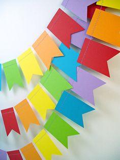 Rainbows Petite Flags 12ft. Garland  ///////  Rainbow Birthday Party Decor // Rainbow Nursery Decor // Rainbow Garland // Kids Party // via Etsy