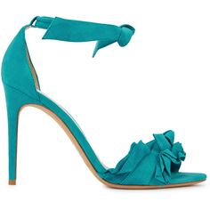 Alexandre Birman Lupita aqua suede sandals (£415) ❤ liked on Polyvore featuring shoes, sandals, high heel sandals, open toe sandals, open toe shoes, aqua shoes and high heeled footwear