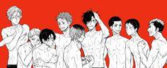 Haikyuu!! - Nekoma High - Lev Haiba, Morisuke Yaku, Yuuki Shibayama, Sou Inuoka, Kenma Kozume, Tetsurou Kuroo, Nobuyuki Kai, Shouhei Fukunaga, and Taketora Yamamoto