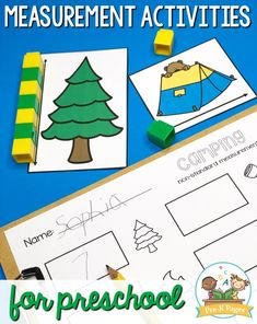 Fun, hands-on measurement activities for your preschool or pre-k classroom. Use common objects as non-standard units of measurement to teach measuring. School Age Activities, Camping Activities For Kids, Kindergarten Math Activities, Pre K Activities, Camping Crafts, Preschool Classroom, Preschool Camping Activities, Camping Dramatic Play, Pre K Pages