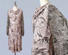 1930s Dress / 30s Embroidered Billowy Sheer Sleeves Dress / Two Piece Peasant / Poet Dress from Guermantes Vintage
