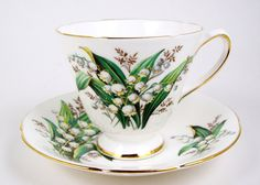 Vintage Tea Cup & Saucer Lily of the Valley by CuteAndSweetVintage