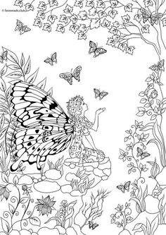 Woman-Butterfly - Printable Adult Coloring Page from Favoreads (Coloring book pages for adults and kids, Coloring sheets, Coloring designs) Butterfly Coloring Page, Fairy Coloring Pages, Free Adult Coloring, Printable Adult Coloring Pages, Kids Coloring, Fantasy Girl, Coloring Sheets, Coloring Books, Enchanted Forest Coloring Book