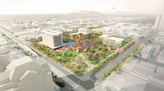 Weddle Gilmore, West 8 and Colwell Shelor Selected to Redesign Arizona's Mesa City Center,Context. Image © Colwell Shelor, West 8 and Weddle Gilmore Urban Design Concept, Urban Design Plan, Landscape Architecture, Landscape Design, Architecture Design, Shade Structure, Design Furniture, Urban Planning, Outdoor Gardens