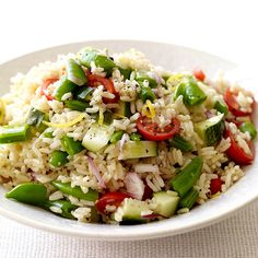 Brown Rice Salad with Tomatoes and Sugar Snap Peas Recipe | Weight Watchers