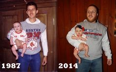 Recreated childhood photo of my dad and I, then with my daughter. #familypic #generations #redsox