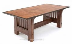 Refined Rustic Dining Table Available at Woodland Creek Furniture in Custom Sizes.