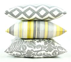 """Modern Waverly Stripe Decorator Pillow Cover - Grey, Yellow and White Fabric Both Sides - To cover 20""""x20"""" Pillow Form. $32.00, via Etsy."""