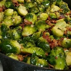 Garlic Brussels Sprouts with Crispy Bacon Allrecipes.com