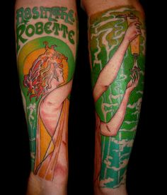 Art nouveau Alfonse Mucha inspired Absinthe Fairy colour arm tattoo