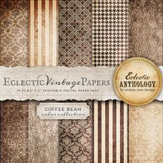 Eclectic Vintage Printable Papers - Coffee Bean-vintage, graphics, papers, printable, scrapbook, textured, download, royalty free, commercial use, coffee, brown, neutral