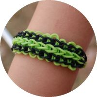 """Minecraft """"Creeper"""" bracelet (see Rainbow ladder tutorial just use 54 green bands and 14 black instead)."""