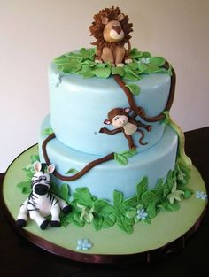 Jungle Baby Shower cake This is my favorite so far Zoo Cake, Jungle Cake, Jungle Safari, Jungle Theme, Jungle Animals, Fondant Cakes, Cupcake Cakes, Fondant Icing, Rodjendanske Torte