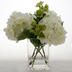 White Hydrangea Arrangement Silk Flowers Greenery Spray Artificial Faux in Tall Square Vase is part of White Hydrangea arrangement - www flovery com