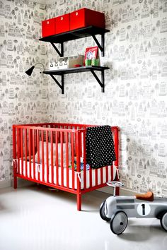 Red and grey nursery. this rocks!