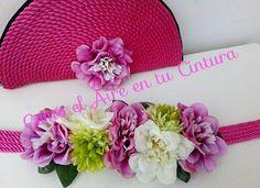 cinturón de fiesta flores cordon de seda