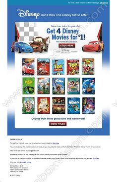 Company: Disney Inc Subject: Bring home the magic of Disney movies INBOXVISION, a global email gallery/database of million and promotional email/newsletter templates, provides email design ideas and email marketing intelligence.