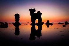 Limestone formations known as rauks on the island of Fårö, Sweden.