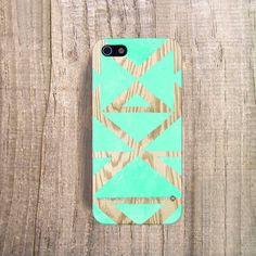iPhone 5 Case - iPhone 4S Case, Plastic Wood Effect iPhone 4 Case, Mint Tribal iPhone 4 Case, iPhone 5 Cover