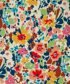 Red Garnett Cotton Craft Fabric, @LibertyLondon, 100% Cotton, £14.00.    Originally printed at Merton in 1971, this print represents the spontaneity of the painting and works of art covering the entire house at Charleston.
