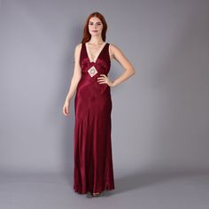 70s does 30s MAXI DRESS / Burgundy Satin & by luckyvintageseattle