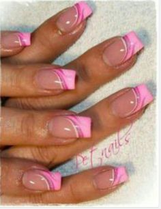 pink french nail art images - Google Search