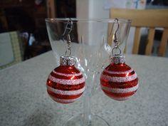 Red Mini Christmas Glass Ball Ornament Dangle by CraftsbyCummins